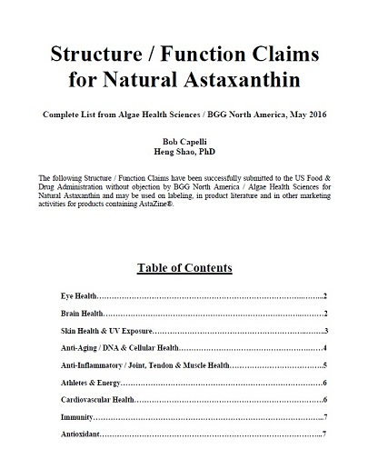 Structure / Function Claims for Natural Astaxanthin