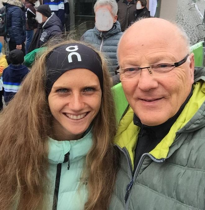 Ronald Ivarsson trifft Fabienne nach dem Mathaisemarktlauf
