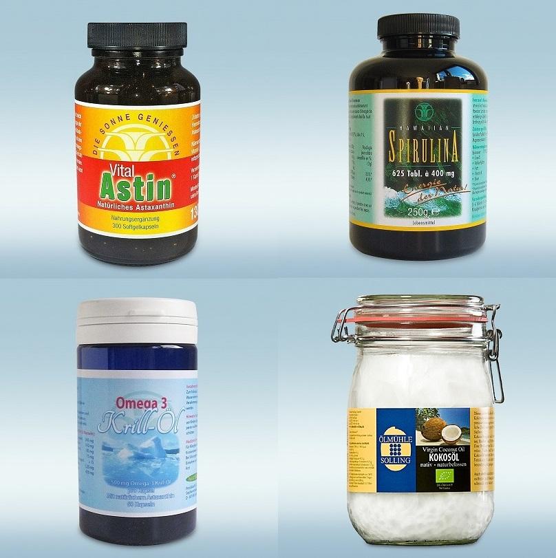 Kombi aus Astaxanthin, Hawaiian Spirulina, Krillöl und Kokosöl
